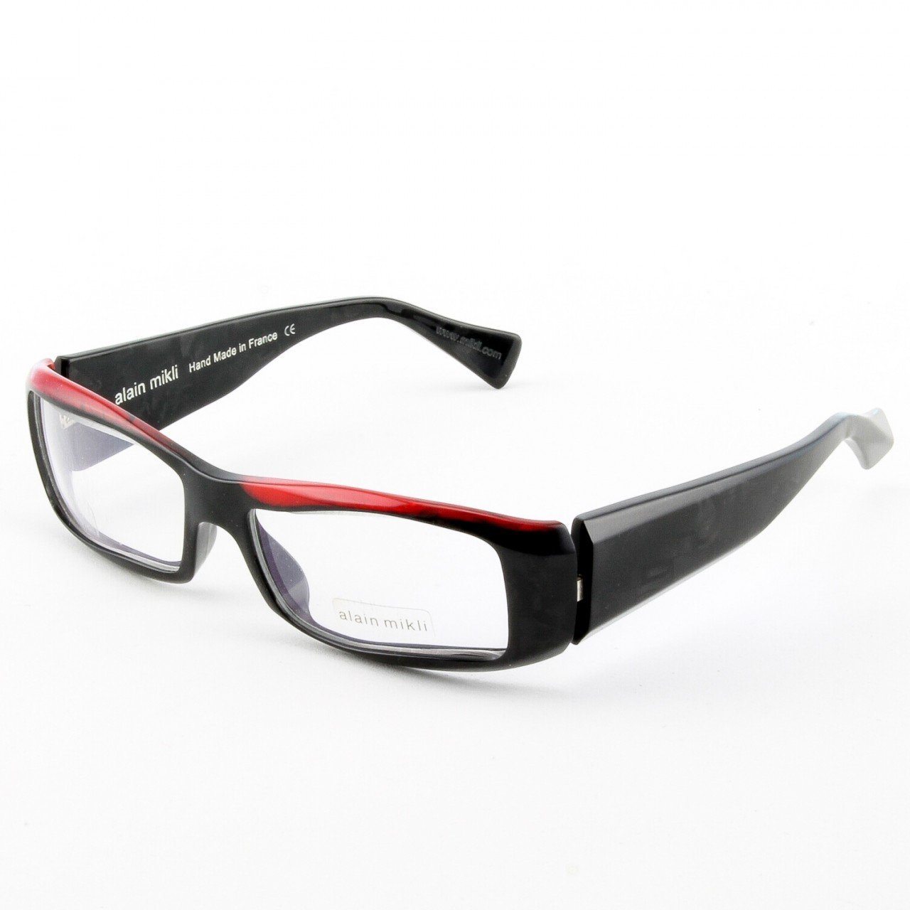 Alain Mikli Eyeglasses A0753 Col. 16 Black with Red Accent on Frame