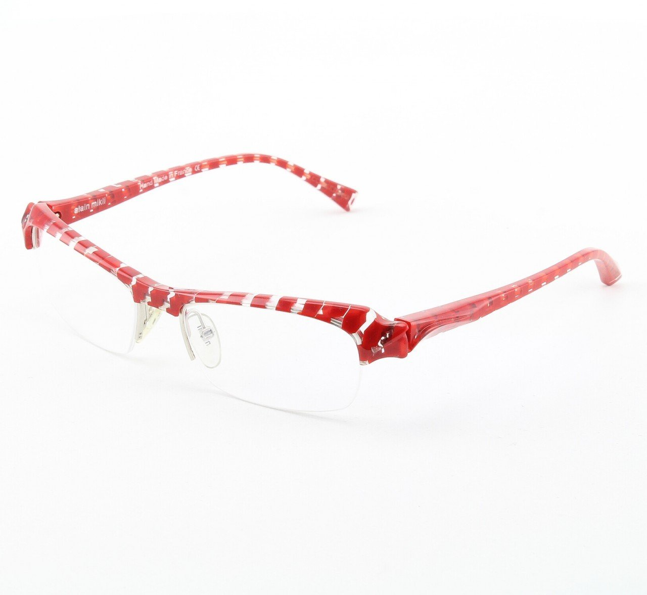 Alain Mikli Eyeglasses A0739 Col. 739 Clear and Red Checkerboard