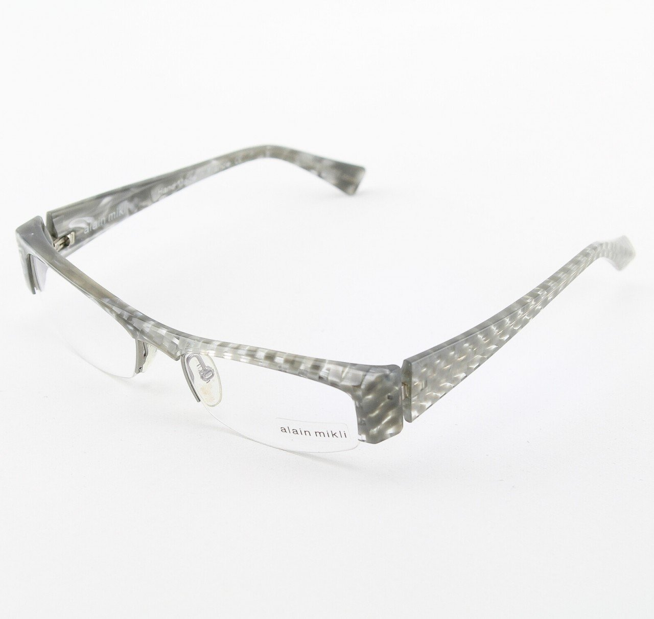 Alain Mikli Eyeglasses AL0734 Col. 26 Pearlized Gray Marble and Checkerboard