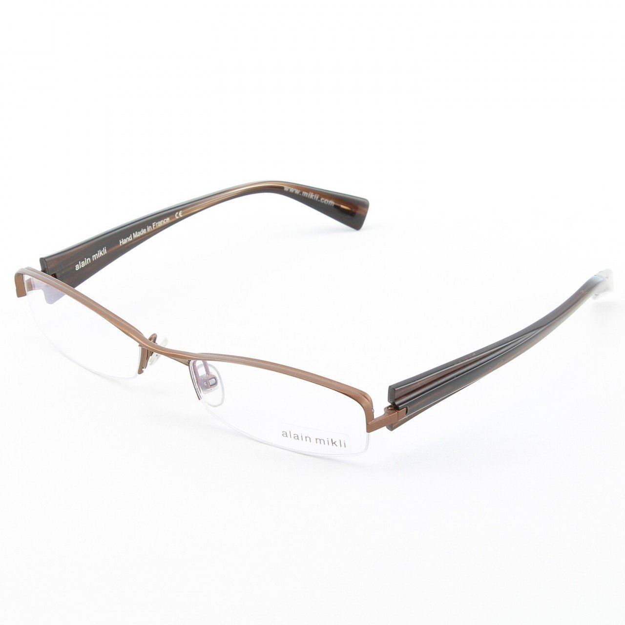 Alain Mikli Eyeglasses AL0656 Col. 16 Bronze Metallic Frame with Dark Brown Temples