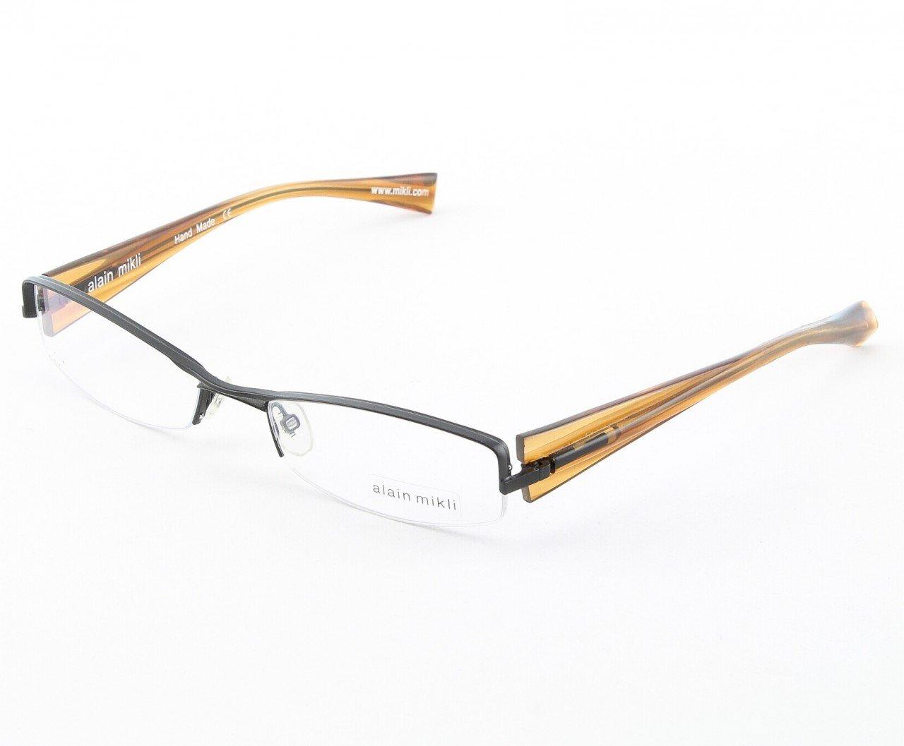 Alain Mikli Eyeglasses AL0656 Col. 12 Matte Black Metallic Frame with Clear Metallic Temples