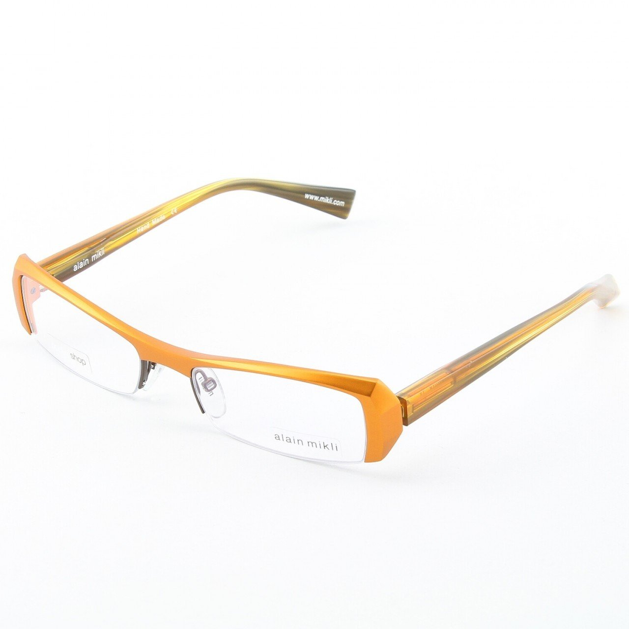 Alain Mikli Eyeglasses AL0613 Col. 13 Butterscotch Metallic with Translucent Butterscoth Temples