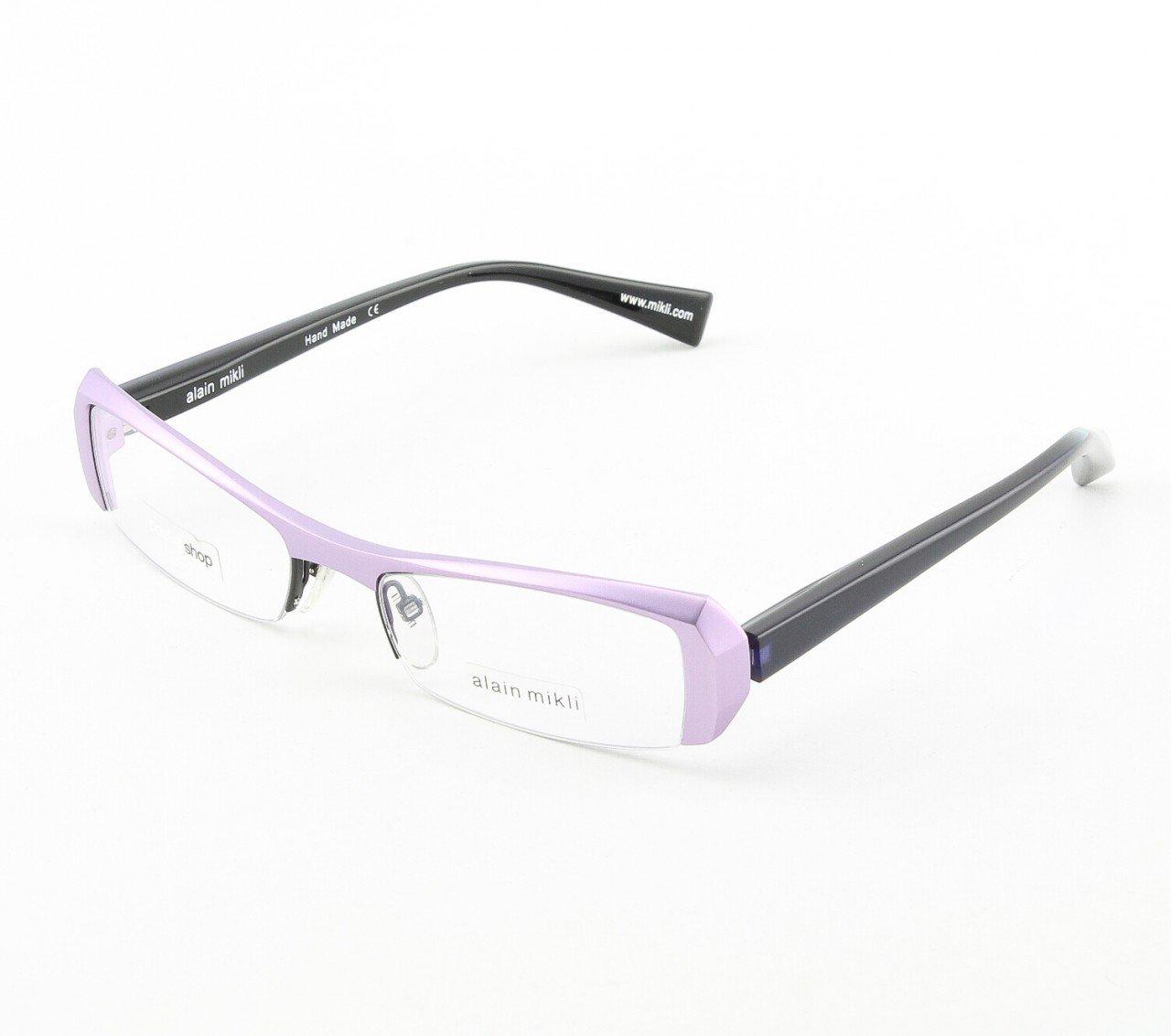 Alain Mikli Eyeglasses AL0613 Col. 11 Lavendar Metallic Frame with Deep Purple Temples