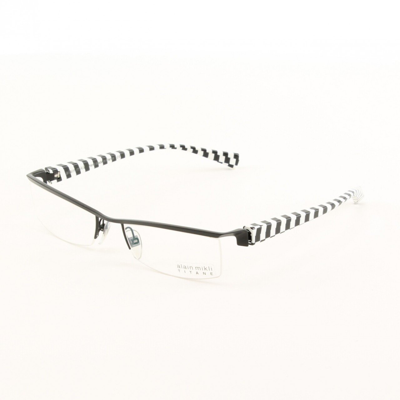 Alain Mikli Eyeglasses AL0523 Col. 11 Black Metal Frame with Black and White Checkerboard Temples