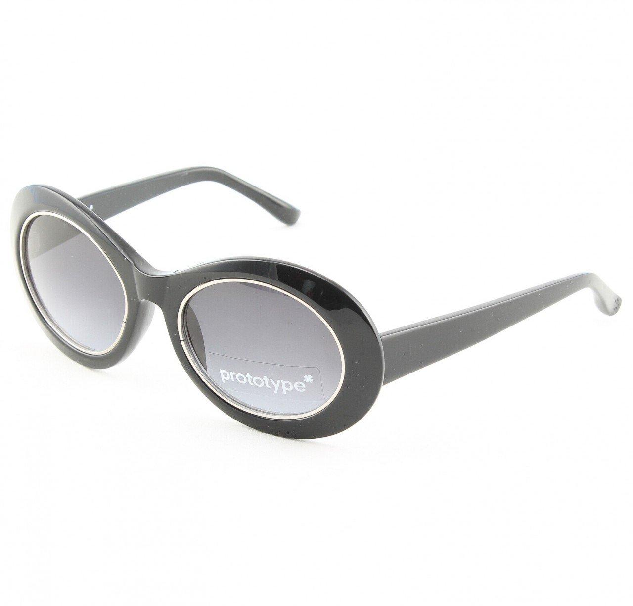 Prototype by Yohji Yamamoto Hornet Sunglasses Col. 01 Black Silver with Grey Gradient Lenses