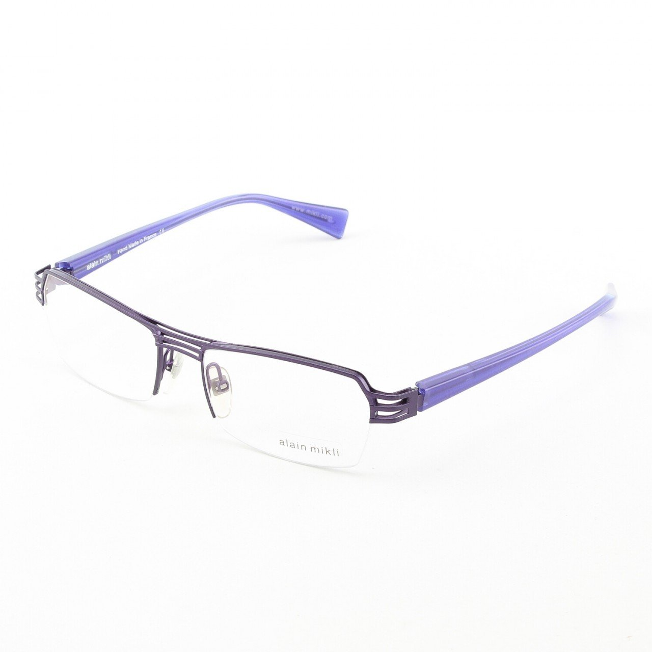 Alain Mikli Eyeglasses AL1107 Col. M00V Purple Metal with Translucent Purple Temples