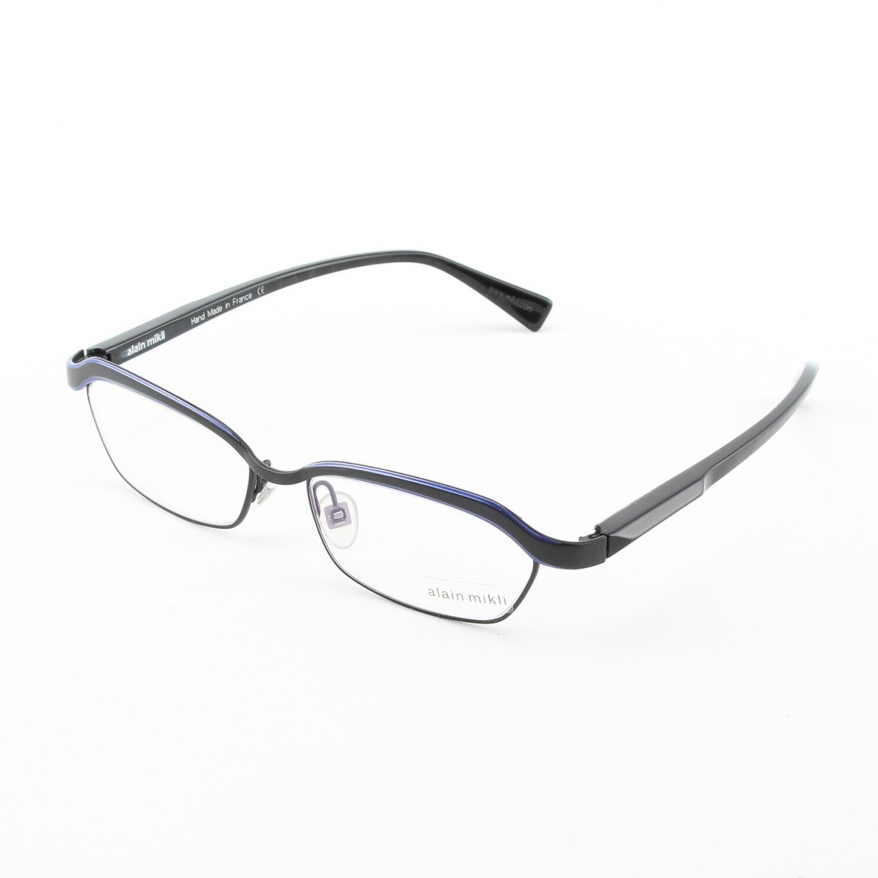 Alain Mikli Eyeglasses AL1022 Col. 4 Matte Black with Purple Marbelized Temples