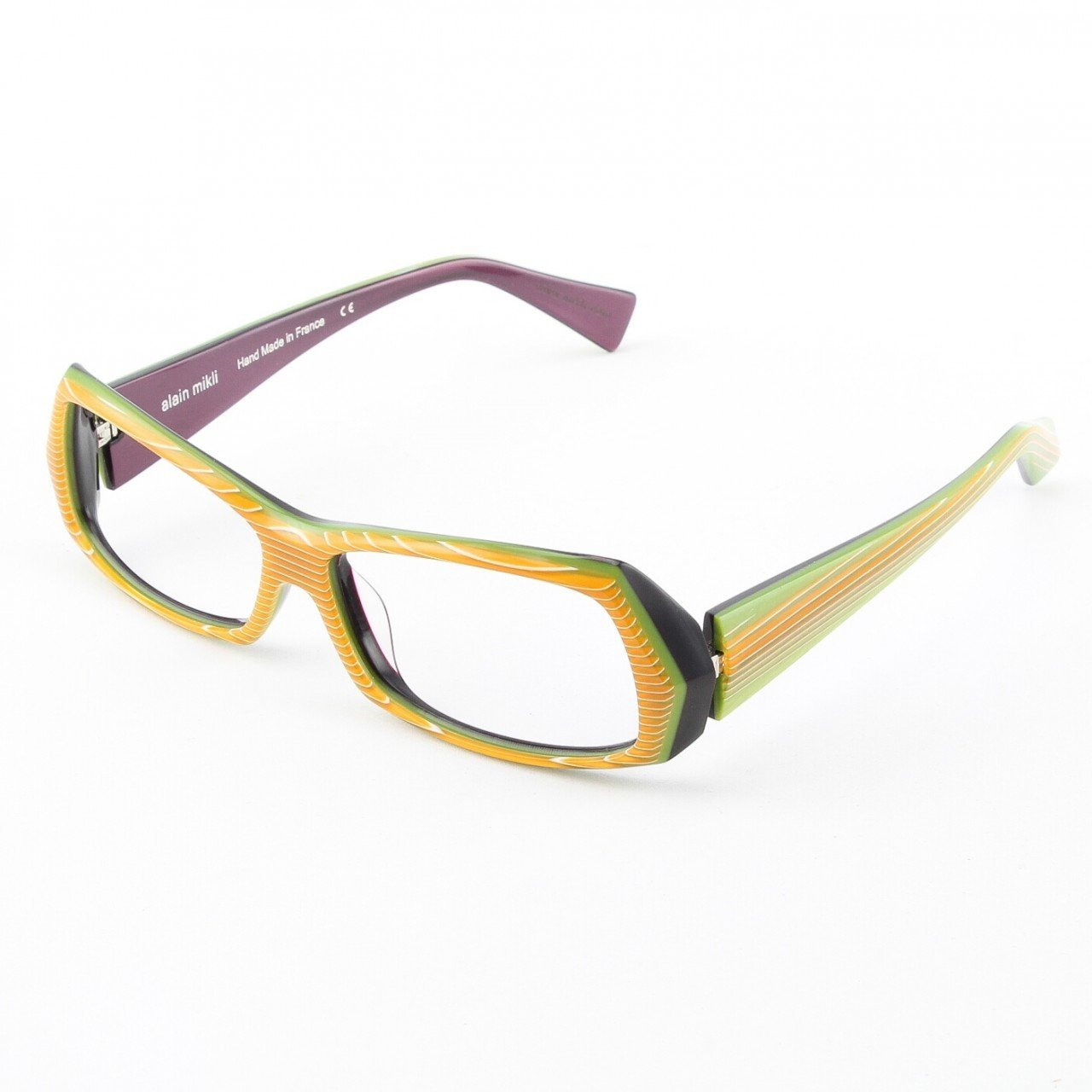 Alain Mikli Eyeglasses AL0945 Col. 6 Yellow Gold Stripe with Lime Green Accent