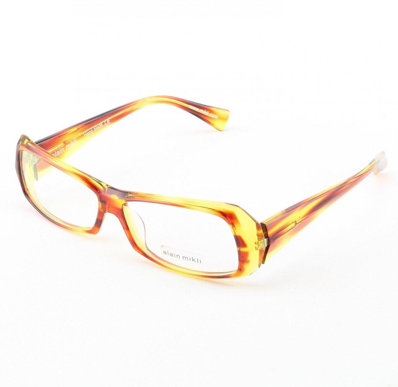 Alain Mikli Eyeglasses AL0945 Col. 3 Mottled Burnt Orange and Yellow