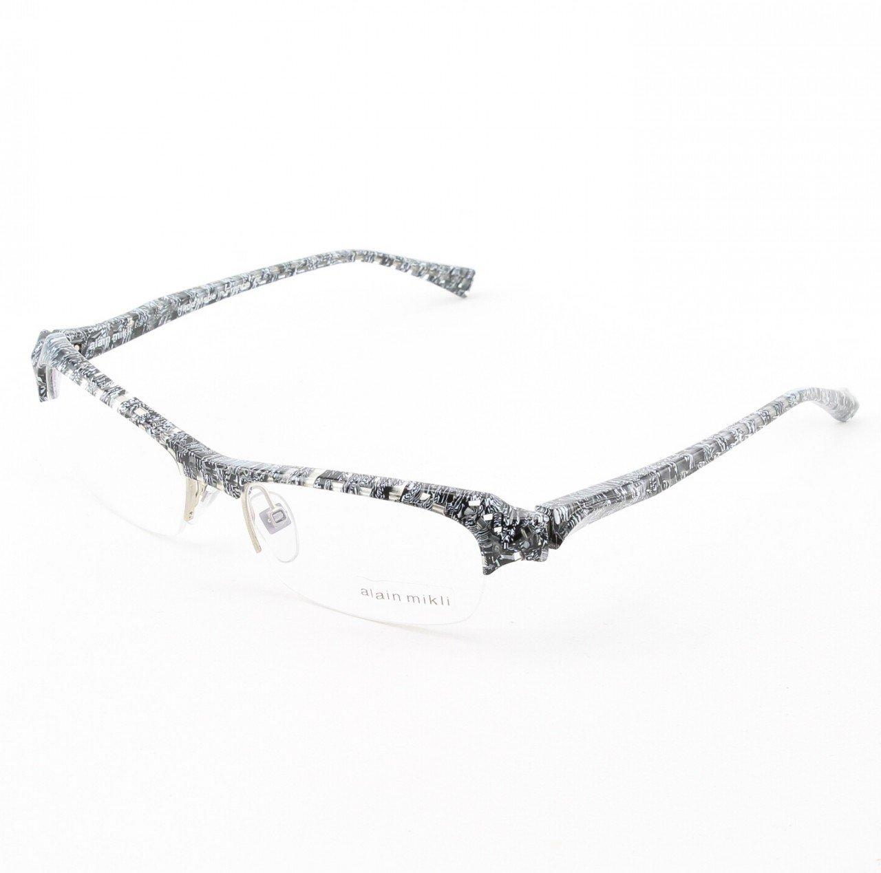 Alain Mikli Eyeglasses AL0739 Col. 12 Black and White on Clear Checkerboard