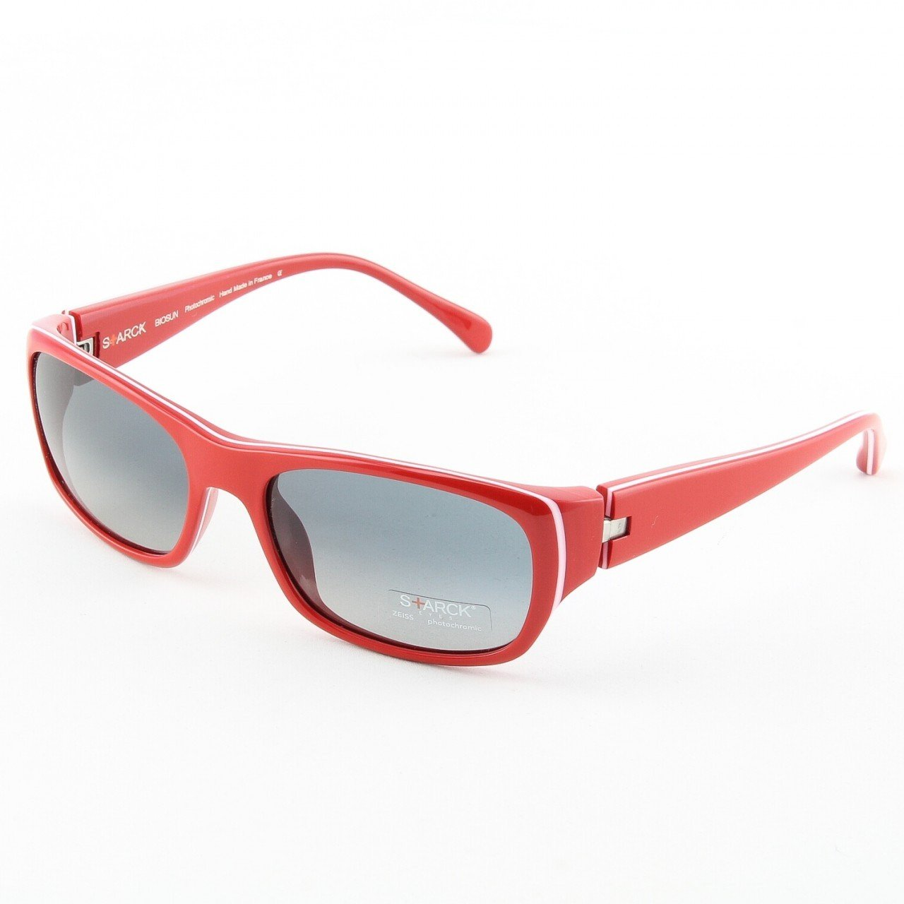 Starck Sunglasses P0650 Col. 27 U4 Red, White Stripe with Black Gradient Photochromic Lenses