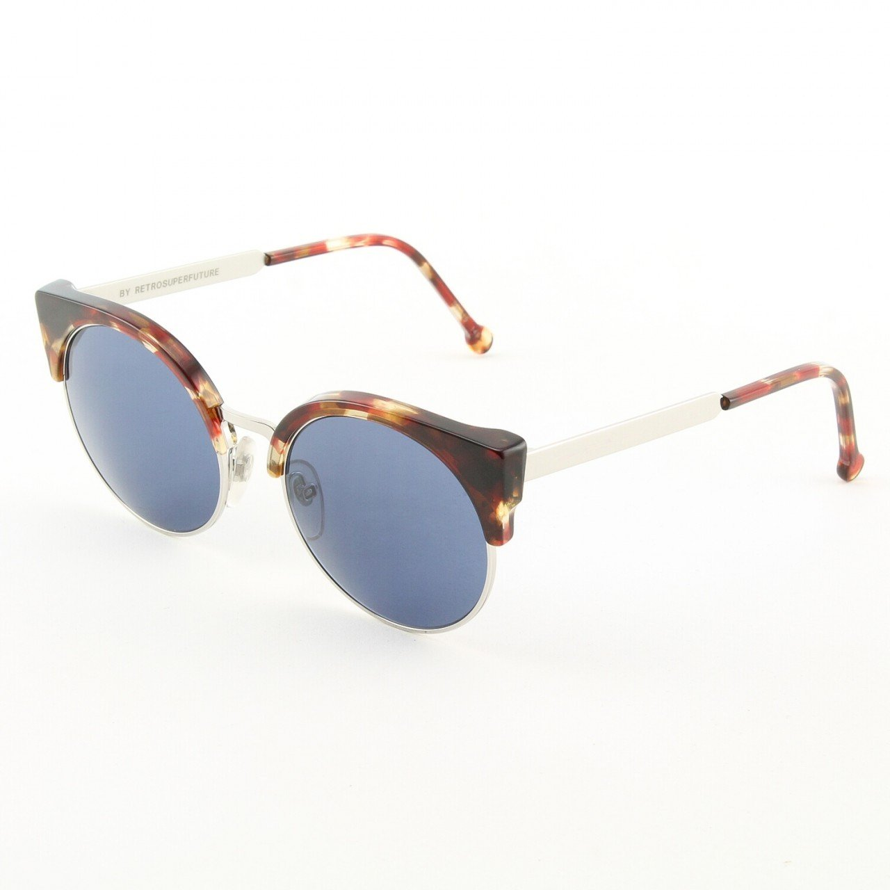 Super Lucia 576/3T Sunglasses Red Havana Chrome with Blue Zeiss Lenses by RETROSUPERFUTURE