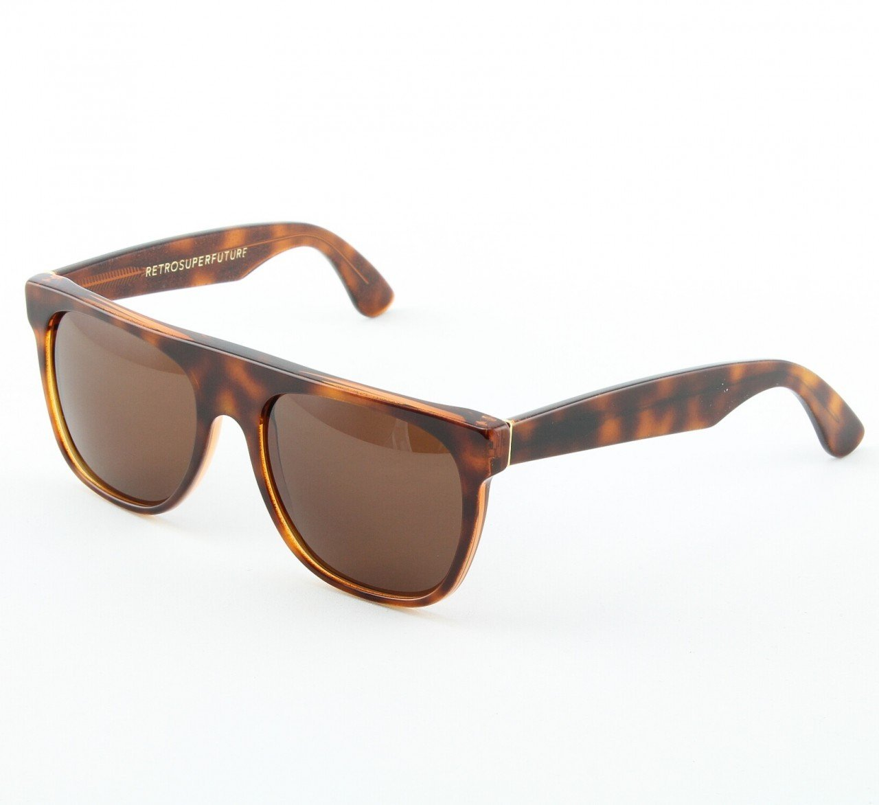 Super Flat Top 188/3 Sunglasses Brown Havana Glitter with Brown Zeiss Lenses by RETROSUPERFUTURE