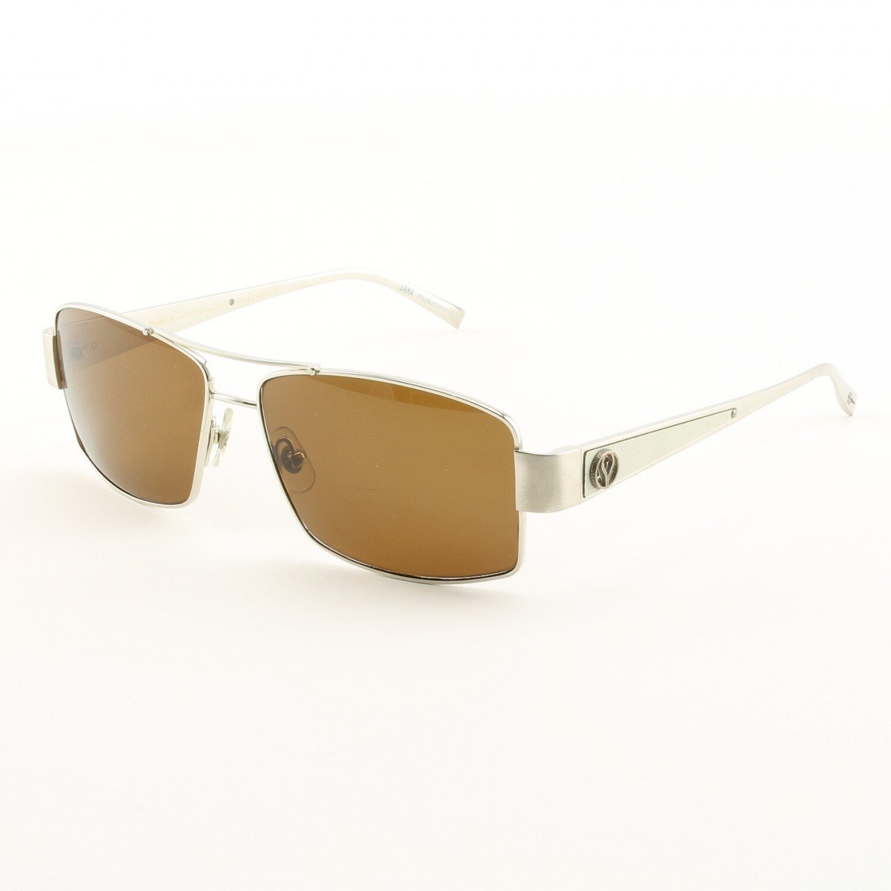 Loree Rodkin Jason Sunglasses by Sama Col. White Gold with Brown Lenses, Leather and Sterling Silver