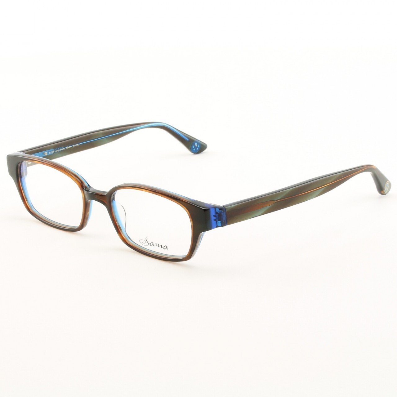 Loree Rodkin Evan Eyeglasses by Sama Col. Brown and Blue with Clear Lenses