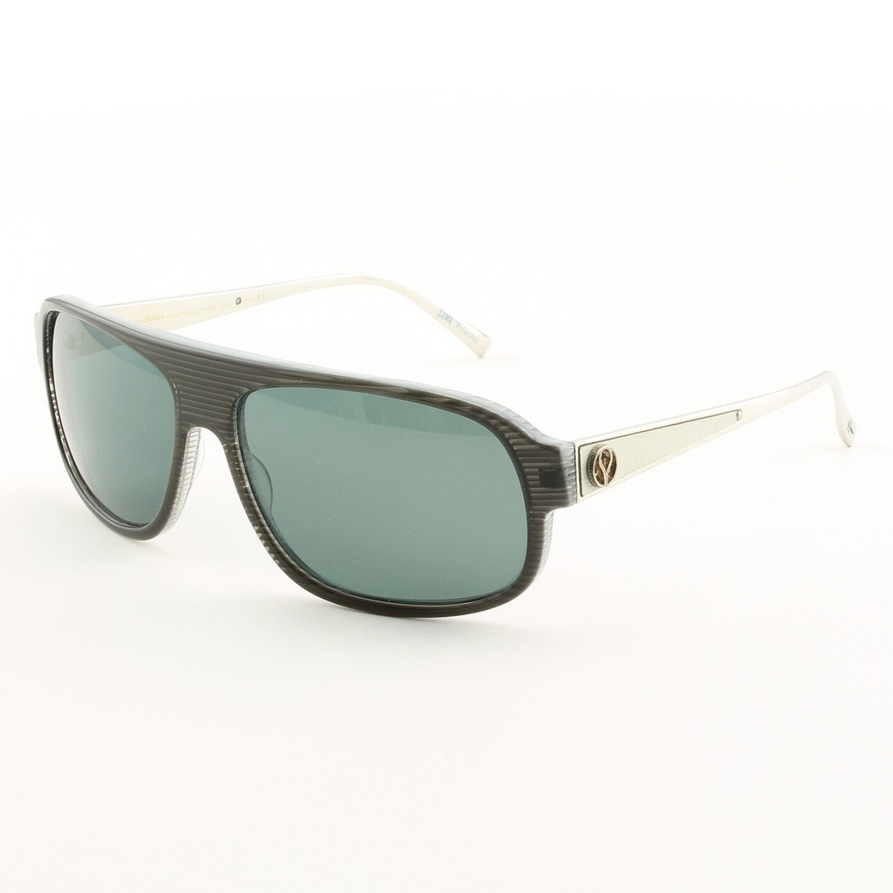 Loree Rodkin Dylan Sunglasses Slate w/ Gray Polarized Lenses, Leather and Sterling Silver