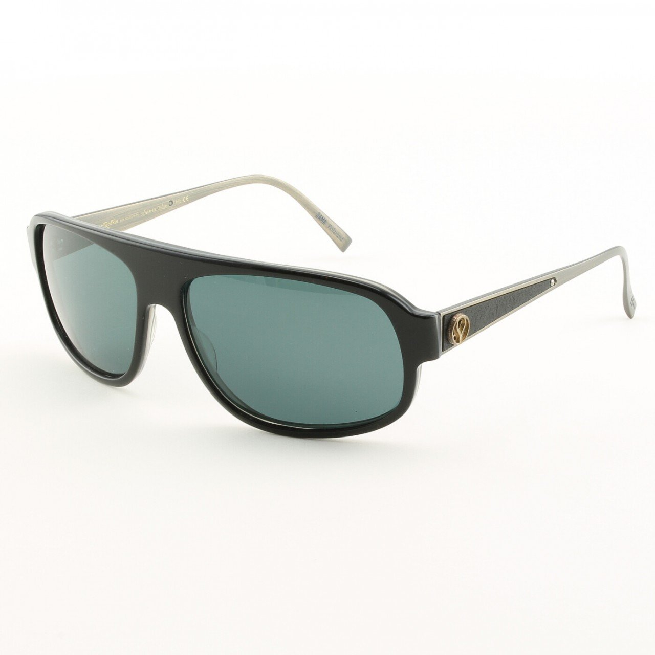 Loree Rodkin Dylan Sunglasses Black w/ Polarized Lenses, Leather and Sterling Silver
