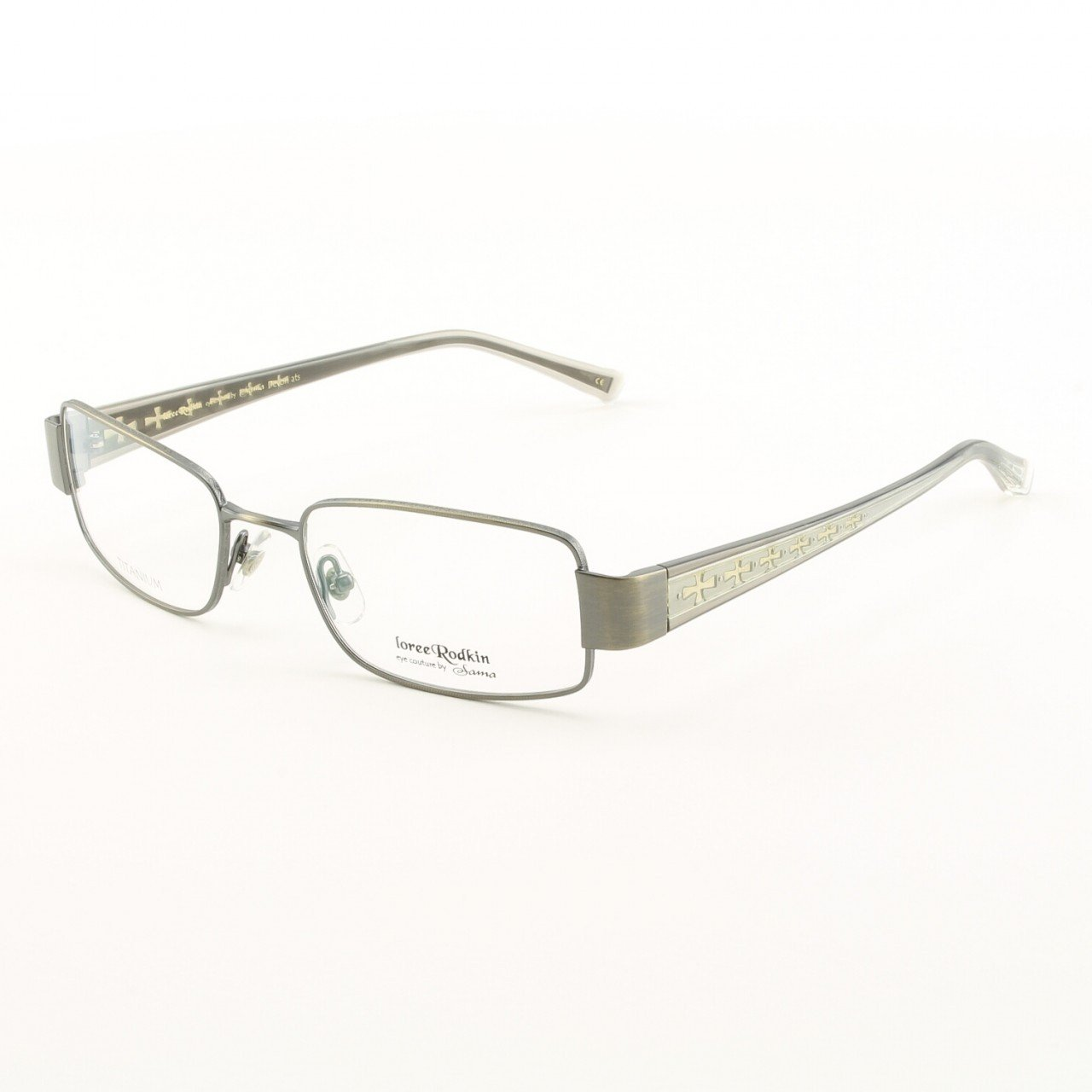 Loree Rodkin Devon Eyeglasses by Sama Col. with Clear Lenses and Decorative Temple Core