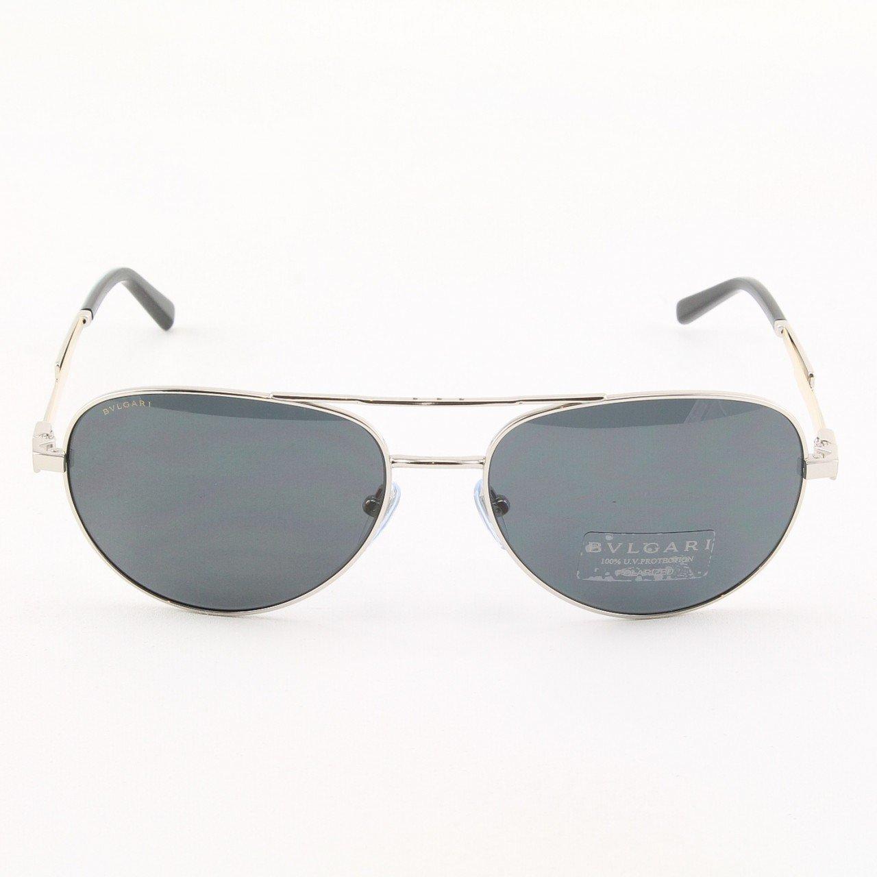 BULGARI BV5022K 408381 Titanium Platinum Aviator Sunglasses with Black Polarized Lenses 60mm