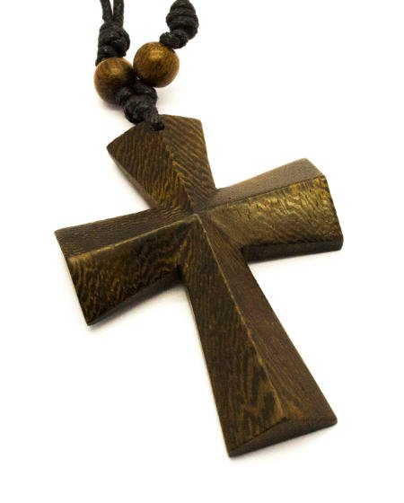 Iron Cross Pendant - 3D Iron Cross wood pendant with Necklace!