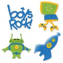Boy's Set die cuts phrase boys rock video game robot rocket Sizzix Sizzlits