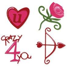Valentine Set, rose, heart, bow, arrow, phrase, crazy 4 you, Sizzix Sizzlit #654748