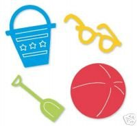 Beach Set, #1, die cuts sunglass, beach ball, shovel, sand pail, Sizzix Sizzlits, Ellision #38-9686