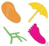 Beach Set #2  die cuts beach chair umbrella sandal footprint, Sizzix Sizzlits Ellision #38-9687