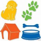 Dog Set puppy doghouse dog dish and bone paw print die cuts  Sizzix Sizzlits #38-9618