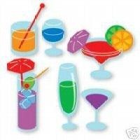 Drinks set of 4 different  die cuts Ellision Sizzix Sizzlit