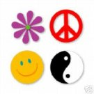 Peace Set  Sizzix Sizzlits die cuts  yin yang   peace symbol  smiley face  peace flower  #38-9749
