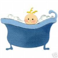 Baby in Tub  die cuts  Sizzix Sizzlit