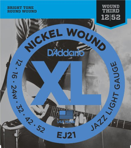 DAddario EJ21 Nickel Wound Electric Guitar Strings Jazz Light 12-52