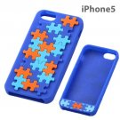 Geometric Design Silicone iPhone 5 Case (Puzzle/Blue)