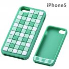 Ray Out - Geometric Design Silicone iPhone 5 Case (Check/Green)