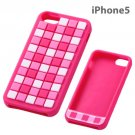 Ray Out - Geometric Design Silicone iPhone 5 Case (Check/Pink)