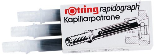 Rotring Rapidograph Pen Capillary Blue Ink Cartridge Pack with 3