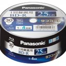 Panasonic Blu-ray BD-R Recordable Disk 25GB 4x Speed 30 Spindle Pack Printable