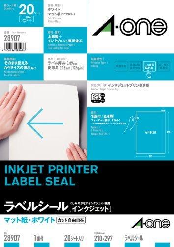 A-one Face Seal Label White Paper A4 1 [Inkjet] Matt Uncut Sheet 28 907 20