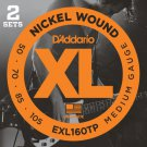 DAddario EXL160TP Nickel Wound Bass Guitar Strings Medium 50-105 2 Sets