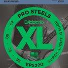D Addario EPS220 ProSteels Bass Guitar Strings/ Super Light/ 40 to 95/Long Scale