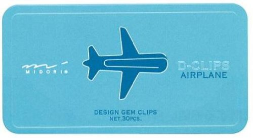 Midori D-Clip Paper Clips - Vehicle Series - Airplane - Box of 30 (japan import)