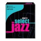 Rico DAddario Select Jazz Soprano Sax Reeds Unfiled Strength 3  Soft 10pack