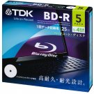 TDK Blu-ray BD-R Disk for PC Data | 25GB 4x Speed 5 Pack
