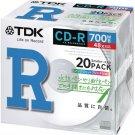 TDK data CD-R 700MB 48X White Printable 20 Pack CD-R80PWX20A