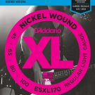 DAddario ESXL170 Nickel Wound Bass Guitar Strings Light 45-100 Double Ball End