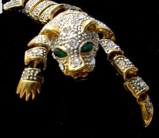 RHINESTONE Articulated CAT Panther Vintage BRACELET