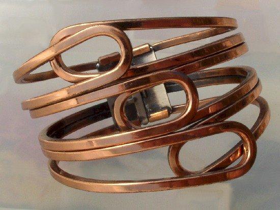 RAME' Vintage COPPER Swirl CLAMP BRACELET