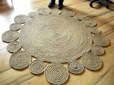 5 Ft 152 Cm Playful Round Rug By Natural Jute