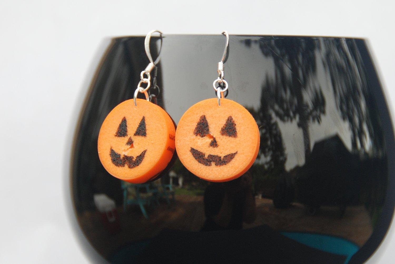 Jack-O-Lantern Wine Cork Halloween Earrings
